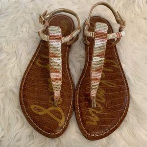 "Sam Edelman ""Gail"" Beaded Thong Sandals Size 7.5M"